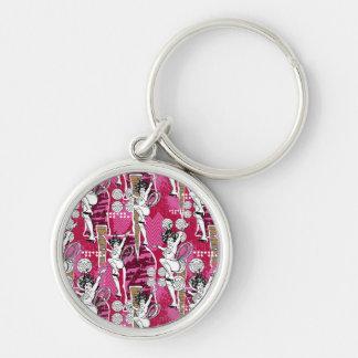 Wunder-Frauen-Rosa-Muster Schlüsselanhänger