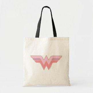 Wunder-Frauen-rosa und orange Maschen-Logo Budget Stoffbeutel