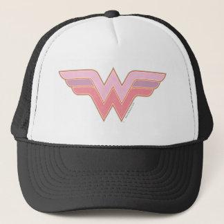 Wunder-Frauen-rosa und orange Maschen-Logo Truckerkappe