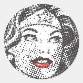 Wunder-Frauen-Rot-Lippen Runder Aufkleber