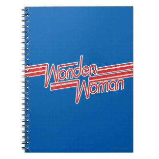 Wunder-Frauen-roter und blauer Streifen-Logo Spiral Notizblock