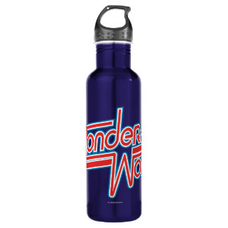 Wunder-Frauen-roter und blauer Streifen-Logo Trinkflasche