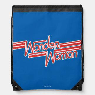 Wunder-Frauen-roter und blauer Streifen-Logo Turnbeutel