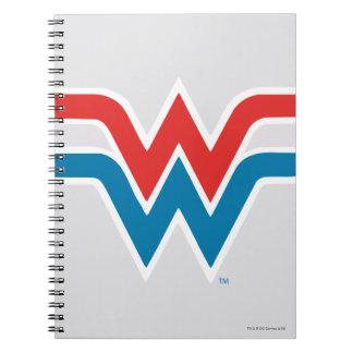 Wunder-Frauen-rotes weißes und blaues Logo Spiral Notizblock