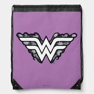 Wunder-Frauen-Schwarz-Spitze-Logo Turnbeutel
