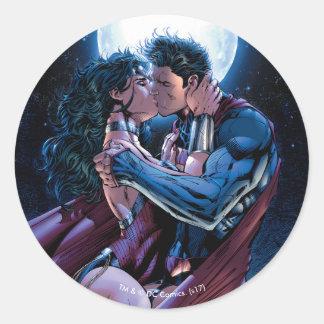 Wunder-Frauen-u. Supermann-Kuss der Runder Aufkleber
