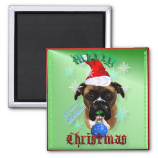 Wunderbar-Weihnachtenboxer-Hundemagneten Quadratischer Magnet