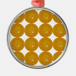 Wunderbare Goldpunkte auf Weiß Rundes Silberfarbenes Ornament