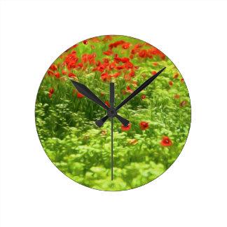 Wunderbare Mohnblumen-Blumen V - Wundervolle Runde Wanduhr