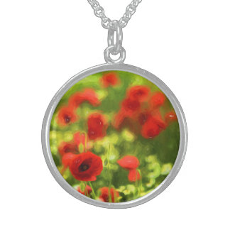 Wunderbare Mohnblumen-Blumen VI - Wundervolle Sterling Silberkette
