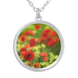 Wunderbare Mohnblumen-Blumen VI - Wundervolle Versilberte Kette