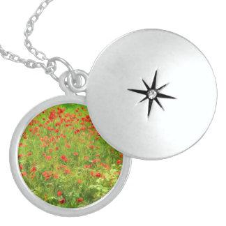 Wunderbare Mohnblumen-Blumen VII - Wundervolle Sterling Silberkette