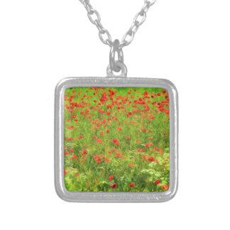 Wunderbare Mohnblumen-Blumen VII - Wundervolle Versilberte Kette