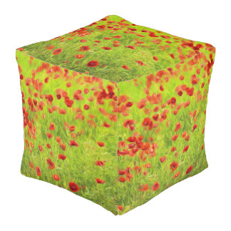 Wunderbare Mohnblumen-Blumen VIII - Wundervolle Kubus Sitzpuff