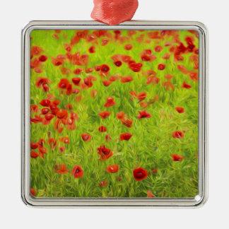 Wunderbare Mohnblumen-Blumen VIII - Wundervolle Quadratisches Silberfarbenes Ornament