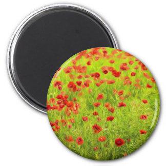 Wunderbare Mohnblumen-Blumen VIII - Wundervolle Runder Magnet 5,7 Cm