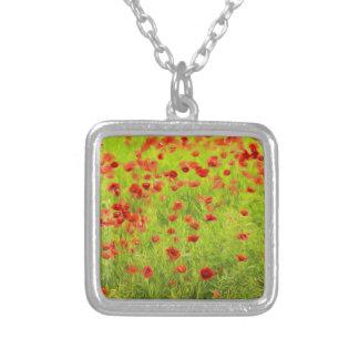 Wunderbare Mohnblumen-Blumen VIII - Wundervolle Versilberte Kette