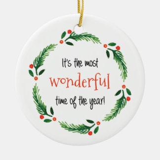 Wunderbare Zeit der Weihnachtsverzierung des Rundes Keramik Ornament