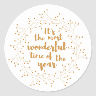Wunderbare Zeit des WeihnachtsKranzes - golden Runder Aufkleber
