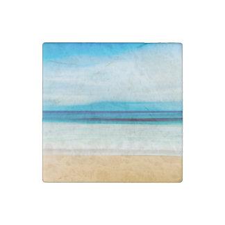 Wunderbarer entspannender Sandy-Strand-blauer Steinmagnet