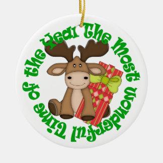Wunderbarer Zeit-Elch scherzt Weihnachtsverzierung Keramik Ornament