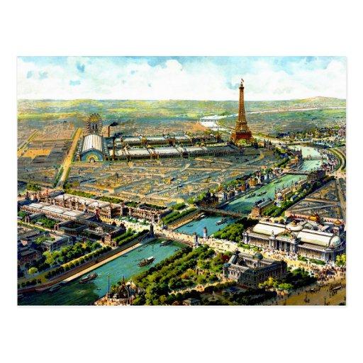 Wunderbares Antike Paris-Panoramablick litho 1900 Postkarte