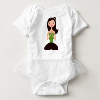 Wunderbares Asien-Meditationsmädchen-Grünschwarzes Baby Strampler
