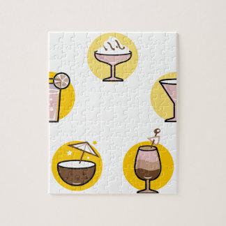 Wunderbares Cocktailgelb auf Weiß Puzzle