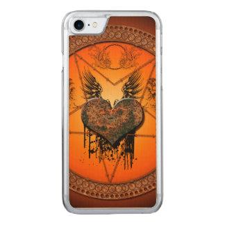 Wunderbares Herz gemacht vom rostigen Metall Carved iPhone 8/7 Hülle