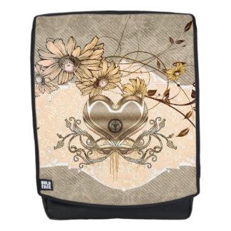 Wunderbares Herz mit Blumen Rucksack