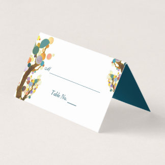 Wunderliche Baum-aquamarine Hochzeit Platzkarte