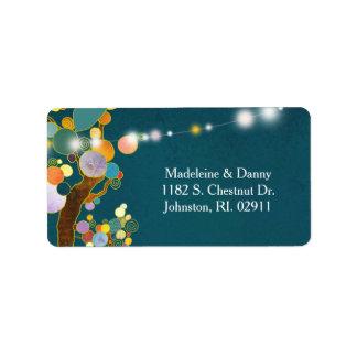 Wunderliche Baum-aquamarine Hochzeits-Adresse Adressaufkleber