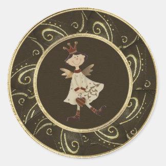 Wunderliche Engels-Prinzessin Classy Festive Runder Aufkleber