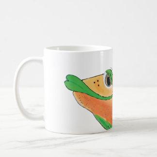 Wunderliche Fisch-Grafik in der Orange und im Grün Kaffeetasse