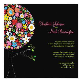 Wunderliche Frühlings-Blumen-Pop-Baum-Hochzeit Karte