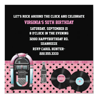 Wunderliche Fünfzigerjahre Geburtstags-Party Quadratische 13,3 Cm Einladungskarte