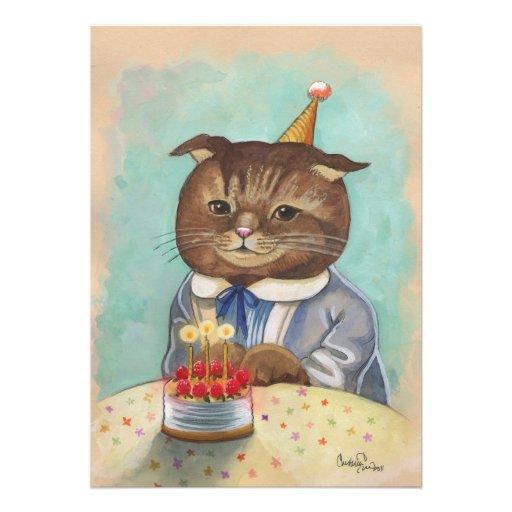 Wunderliche Geburtstags-Miezekatze-Einladung