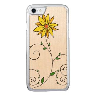 Wunderliche gelbe Blumen-Gekritzel-Kunst Carved iPhone 8/7 Hülle
