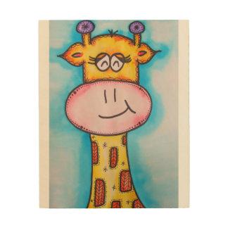 Wunderliche Giraffe Holzleinwand