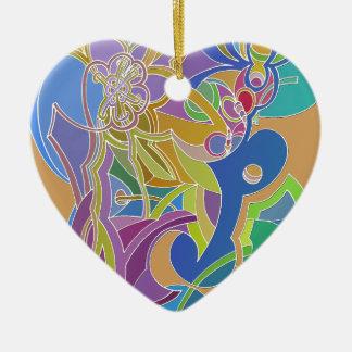Wunderliche Grafik Keramik Herz-Ornament