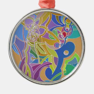 Wunderliche Grafik Rundes Silberfarbenes Ornament