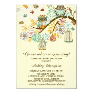 Wunderliche Herbst-Eulen-Babyparty-Einladung 12,7 X 17,8 Cm Einladungskarte