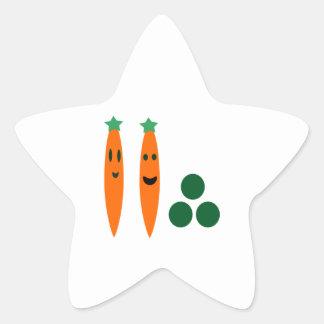 Wunderliche Karotten und Erbsen Stern-Aufkleber