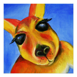 Wunderliche Kunst des Kängurugesichtes Poster