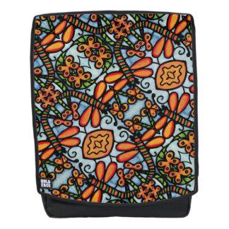 Wunderliche Libellen-blaues orange Muster Rucksack