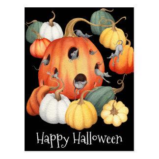 Wunderliche Mäuse und Kürbise Halloween Postkarte