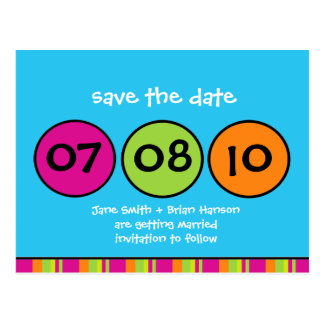 Wunderliche Polka-Punkt-Save the Date Postkarte