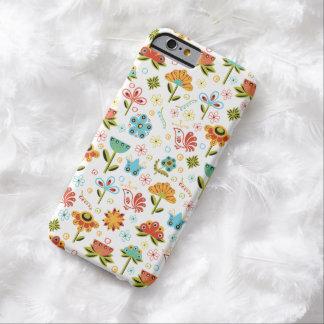 Wunderliche Retro Blumen und Vögel Barely There iPhone 6 Hülle