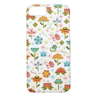 Wunderliche Retro Blumen und Vögel iPhone 7 Hülle