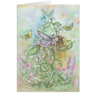 Wunderliche schlafende Blumen-Fee und Grußkarte